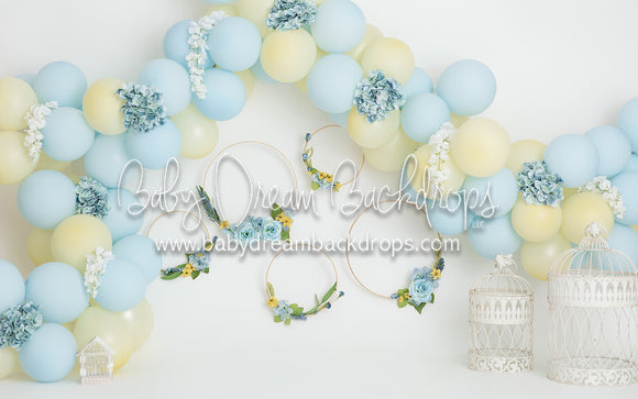 Blue and Yellow Floral Balloon Party
