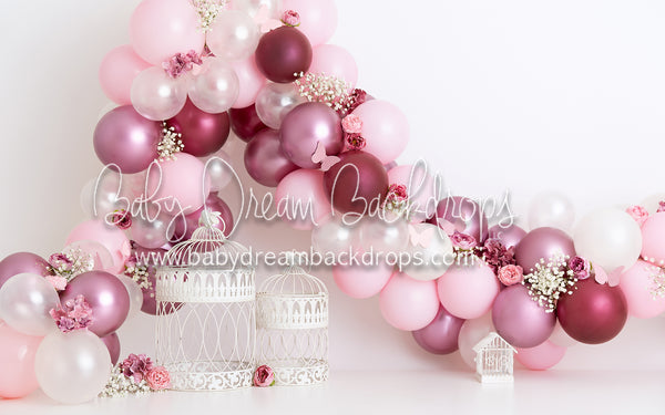 Pink Pearled Balloon Garden with Cages