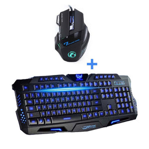 USB Wired LED Backlit Laptop Computer Gamer Keyboard Mouse Combo Optical Professional 7 Buttons 5500 DPI Mice