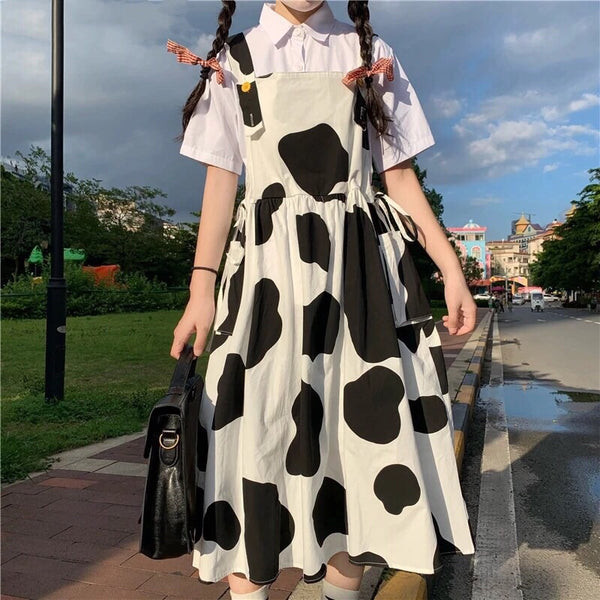 Cow Print Kawaii Harajuku Oversized Pinafore Dress
