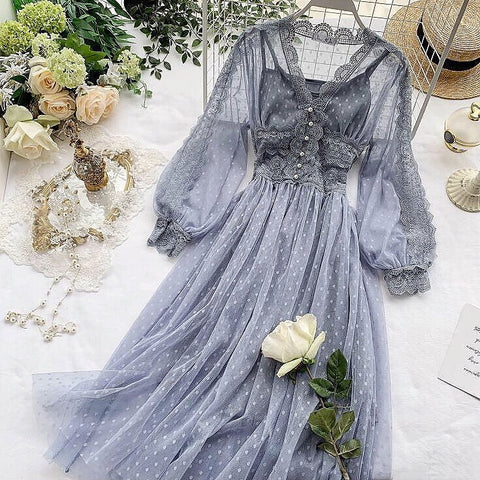 ChloeMidnight Vintage-Aesthetic Mesh Lace Fairy Dress