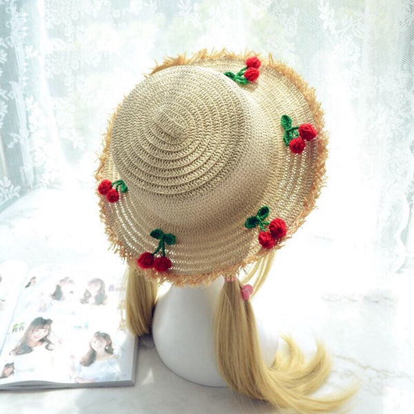 Cherry Kawaii Mori Girl Lolita Straw Hat