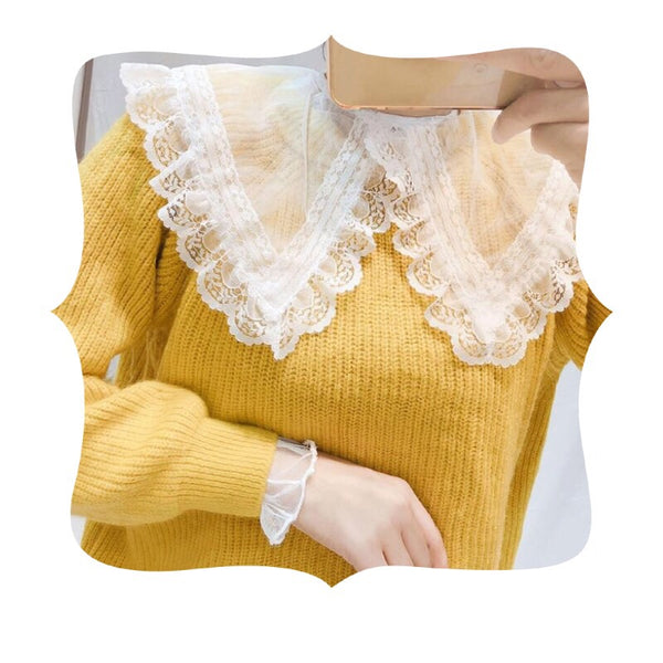 Fairy Lace Sheer Peter Pan Collar Blouse