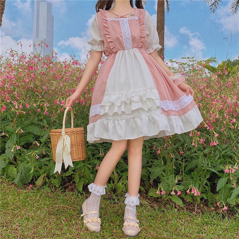 Eli Blossom Pink Frilly Short Sleeve Kawaii Princess Lolita Dress