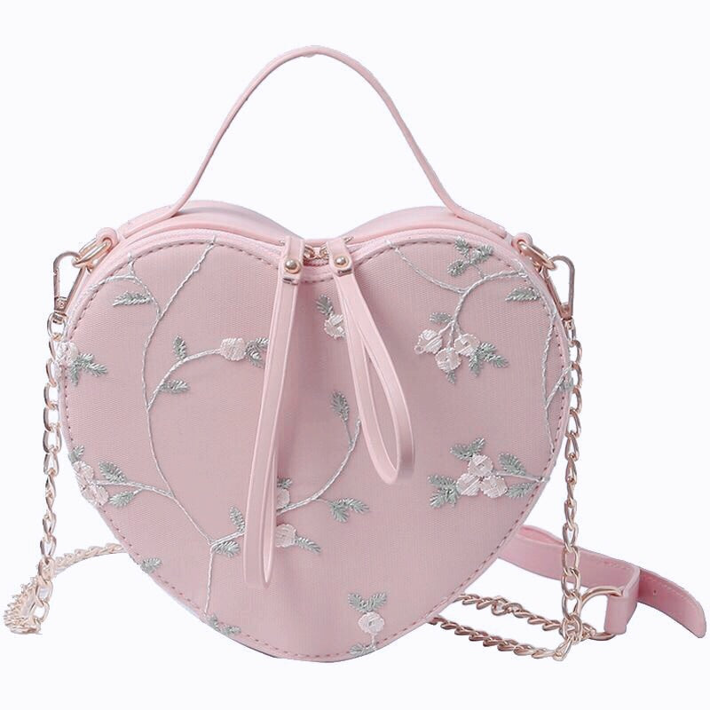 Pink Aesthetic Lace Flower Embroidered Heart-shaped Handbag