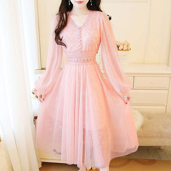 Pink Silver Star Lace Embroidered Tulle Fairy Dress