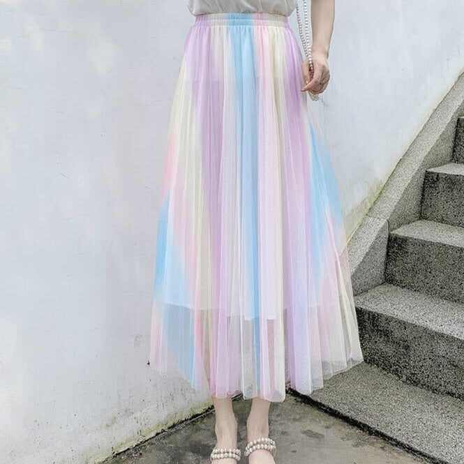 Rainbow Pastel Kawaii Aesthetic Tulle Skirt