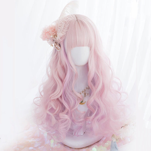 Icy Pink Violet Mix Long Curly Kawaii Cosplay Lolita Wig with Bangs