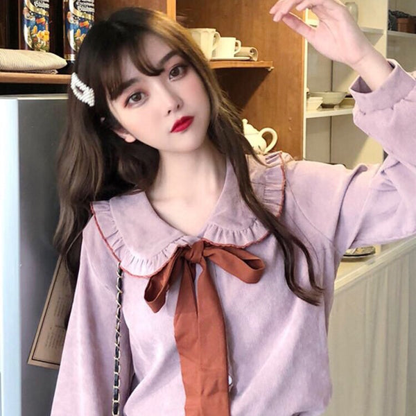 Corduroy Bow Blouse