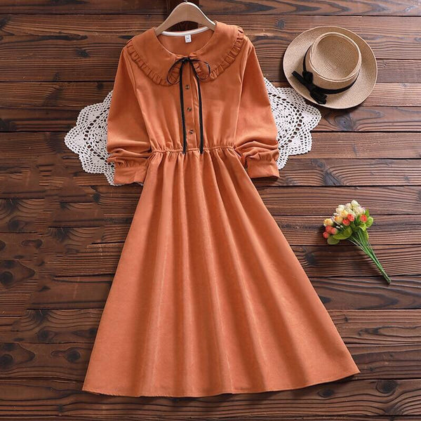 Mori Girl Cottagecore Autumn Midi Dress
