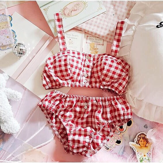 Pretty Baby Kawaii Nymphet Gingham Lolita Lingerie Set