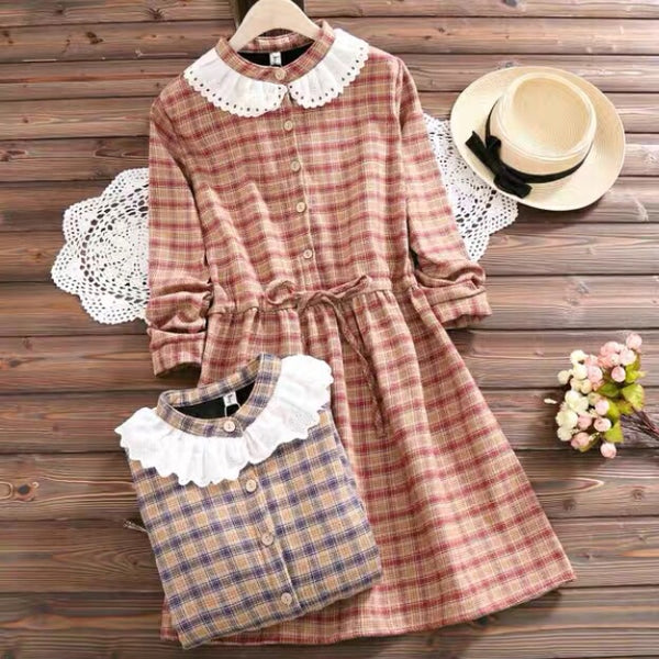 Plaid Mori Girl Cottagecore Vintage-style Winter Dress