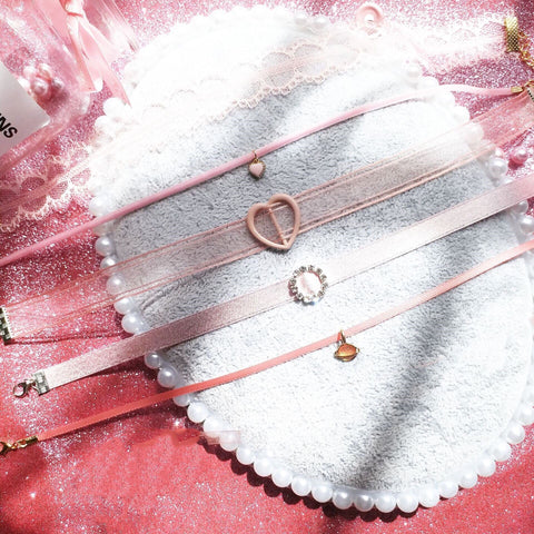 Soft Aesthetic Romantic Pink Ribbon Choker