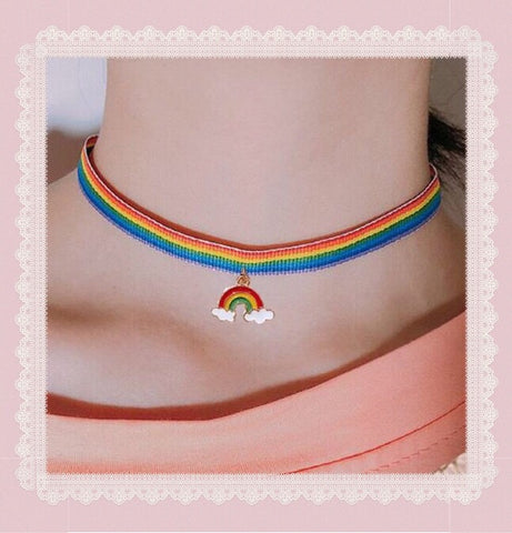 {FREE with Purchase of $25+} Rainbow Choker Necklace