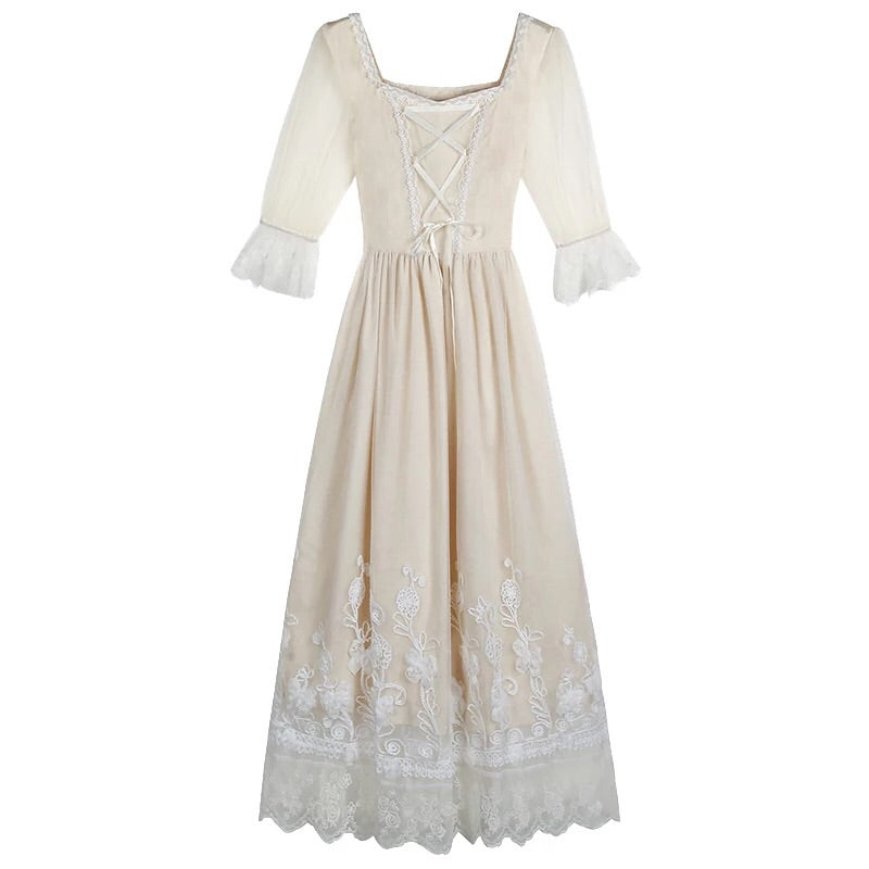 Keira Vintage-Aesthetic Fairy Lace Dress