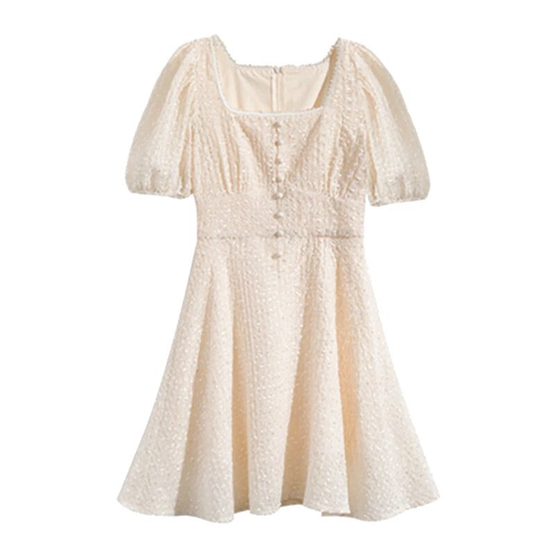 Peach Moon Pearl Embroidered Chiffon Spring Mini Dress