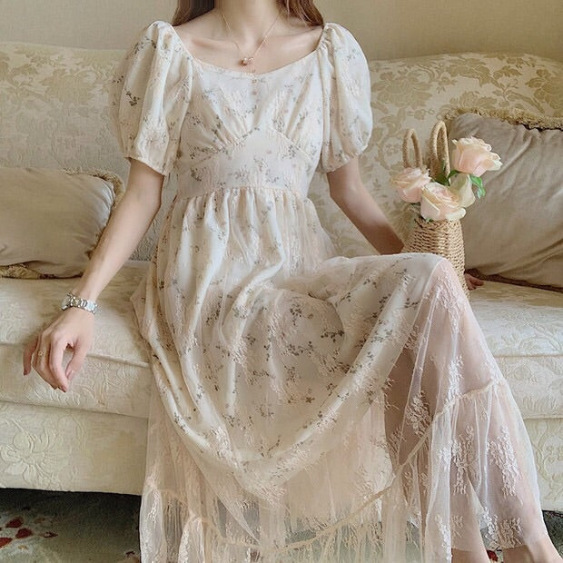 Helen Lightlake Vintage Style Lace Floral Dress