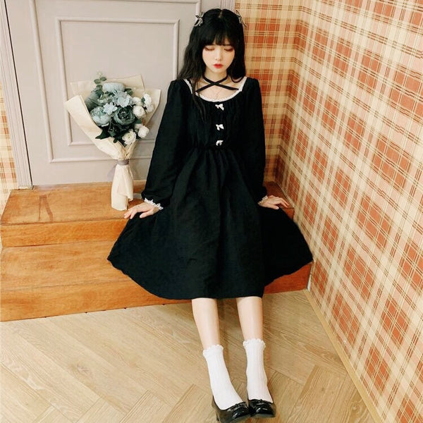 Nora Forstybird Dark Lolita Black Dolly Dress
