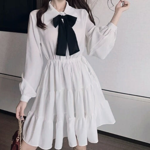 Petunia Casual White Mini Dress with Bow