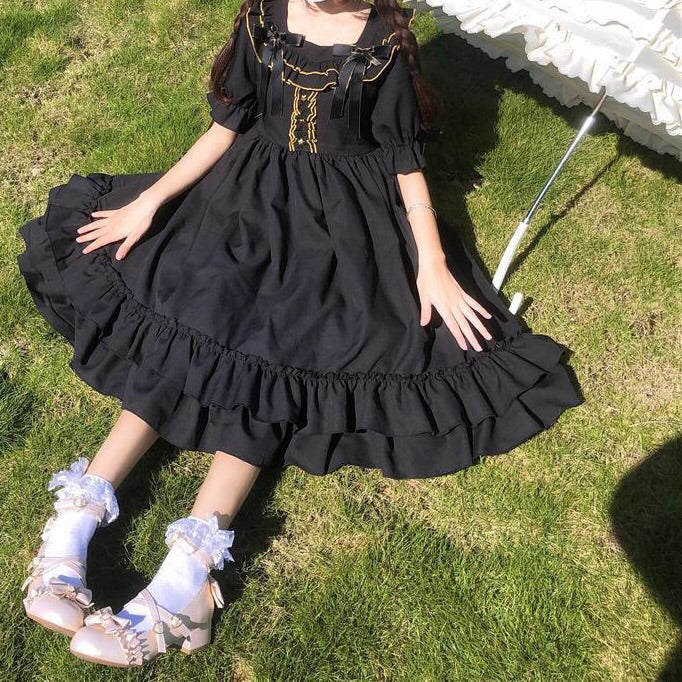 Olivia Nightflower Short Sleeve Gothic Lolita Dress