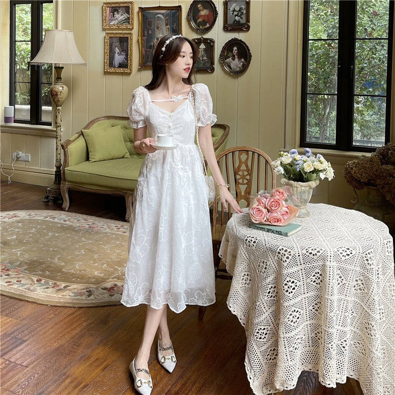 LotusRose Butterfly Vintage-Style Floral-Lace Cottagecore Dress