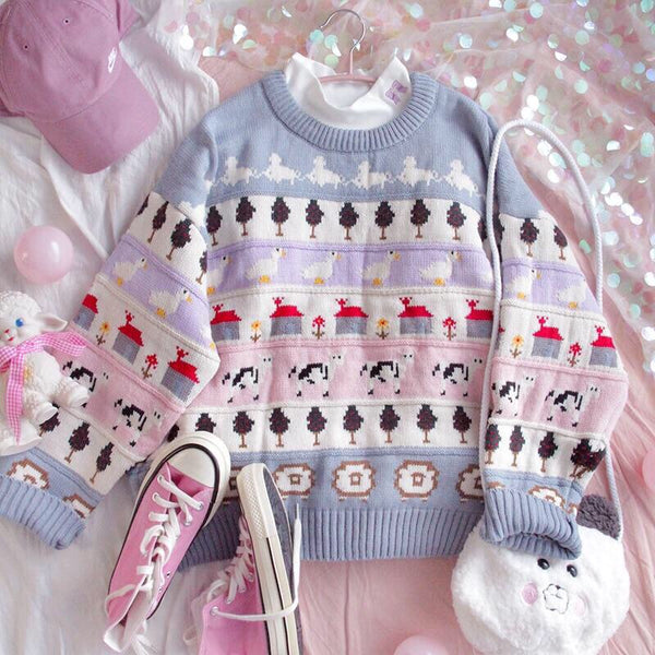 Pastel Fairy-Kei Kawaii Aesthetic Thick Winter Sweater