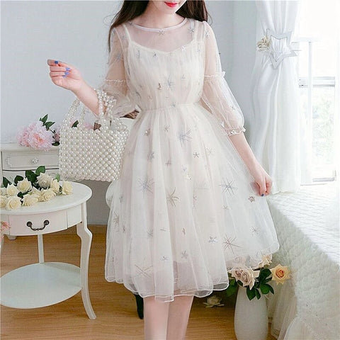 Star Sequin Embellished Kawaii Princess Tulle Fairy Dress