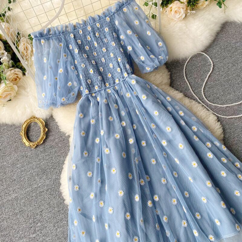 Summer Daisy Embroidered Off-Shoulder Mesh Fairy Dress
