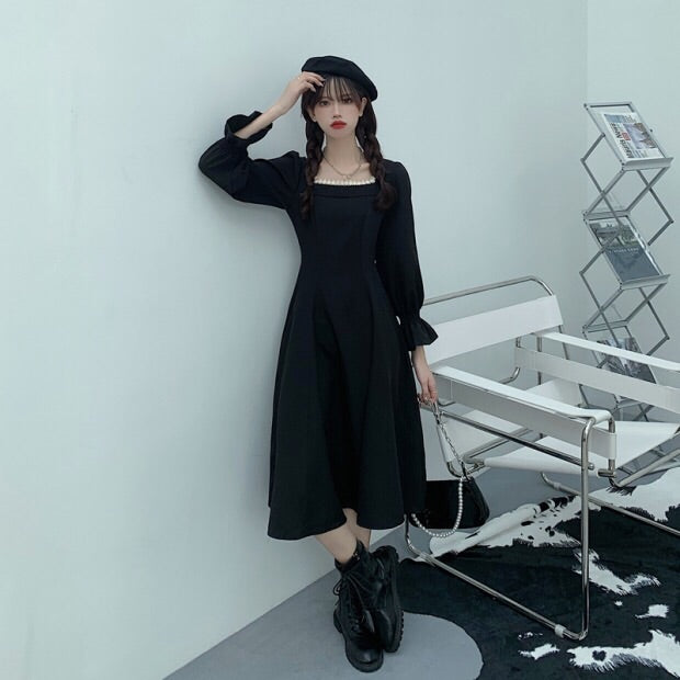 Olive Forest Casual Vintage Aesthetic Dark Lolita Long Sleeve Dress