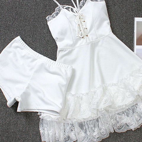 2-piece White Lace Lolita Bikini Swimsuit Set