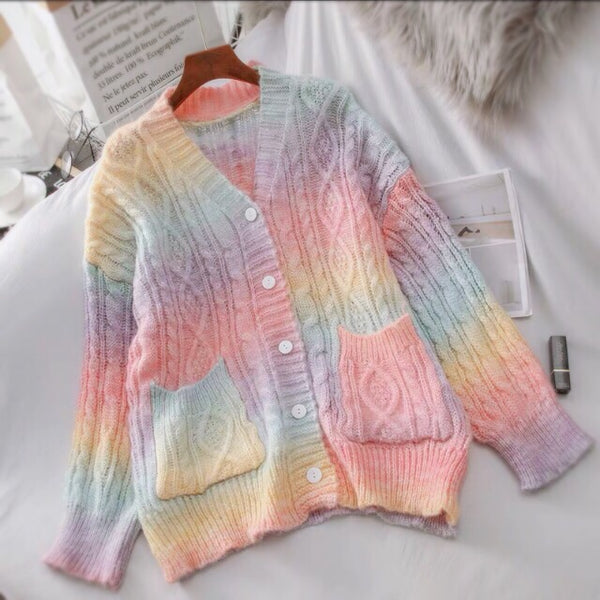 Pastel Rainbow Kawaii Aesthetic Cardigan Sweater