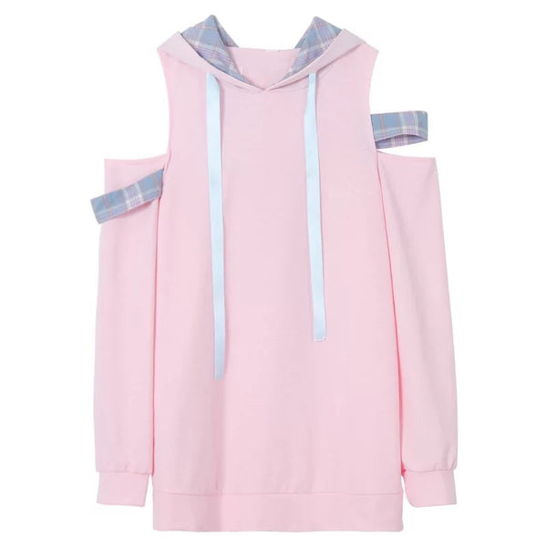 Pastel Pink Off-Shoulder Kawaii Hoodie Sweatshirt