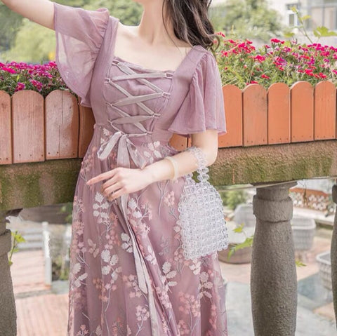 Vanessa Mauve Sequin Embroidered Romantic Fairy Dress