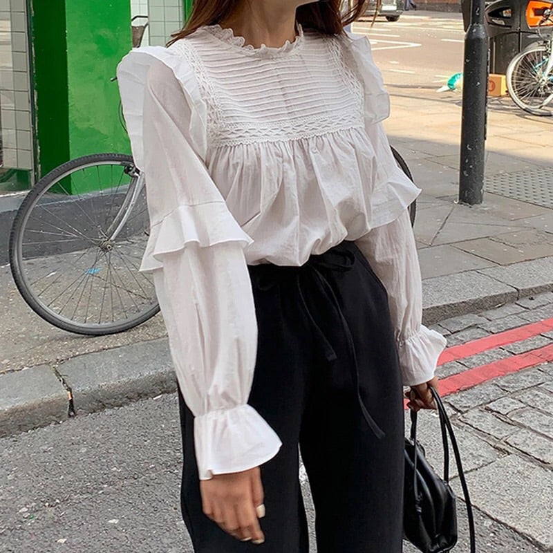 Vintage Aesthetic Casual Long Flare Sleeve Blouse (Plus Sizes)