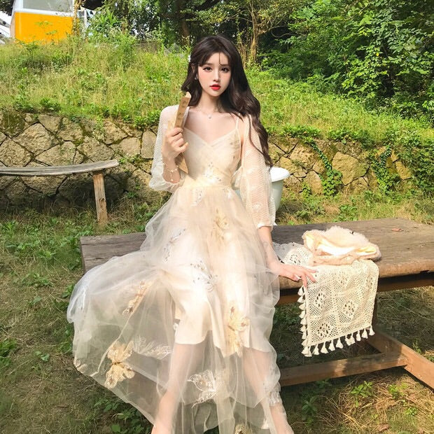 Butterfly Embroidered Vintage-Style Lace Fairy Dress