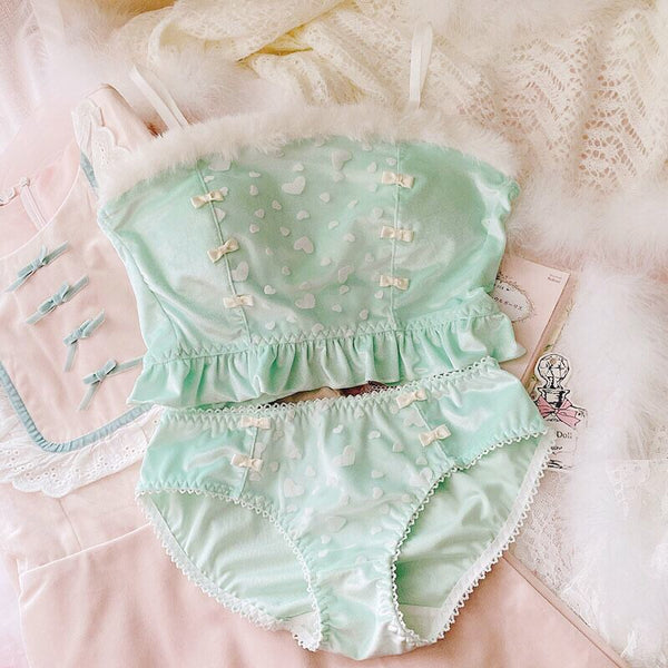 Soft Mint Heart Kawaii Princess Sweet Kawaii Lingerie Set