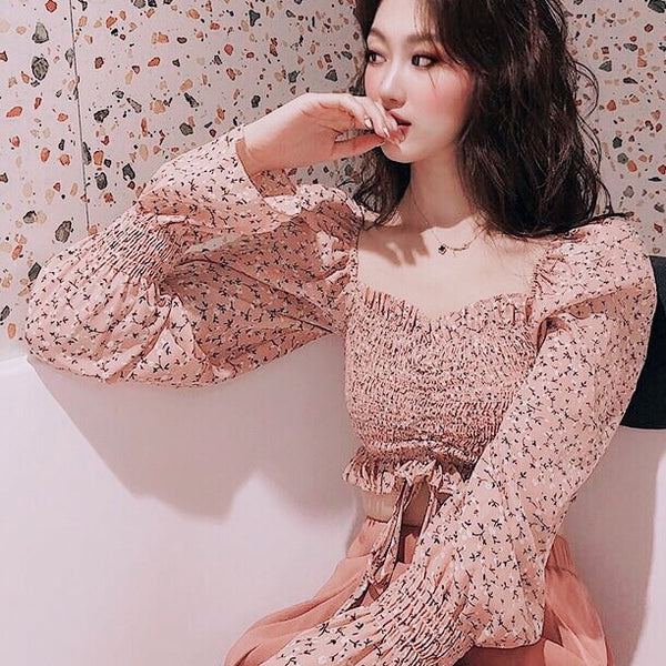 Ditsy Flower Print Long-sleeve Stretchy Chiffon Crop Top