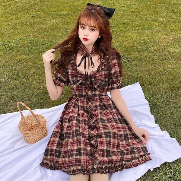 Plaid Bow and Ruffles Dolly Dress with Choker