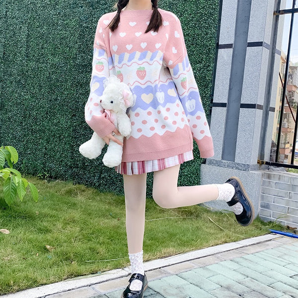 Pastel Kawaii Aesthetic J-fashion Strawberry Fairy-Kei Sweater