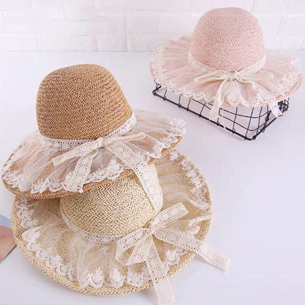 Lolita Lace Ruffle Floppy Straw Hat with Ribbon