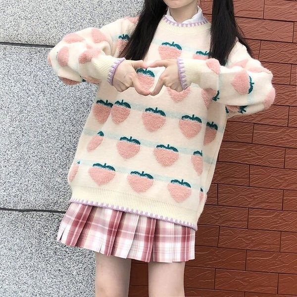 Pastel Peachberry Kawaii Aesthetic Sweater