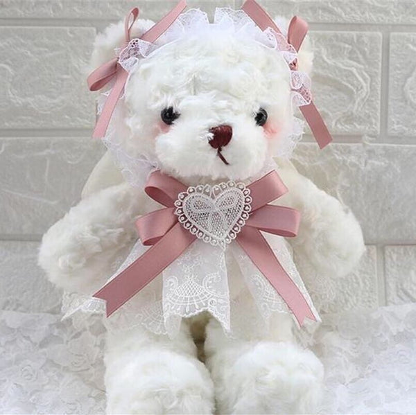Angel Teddy Bag Kawaii Girl Plush White Bear Lolita Bag with Pearl Chain