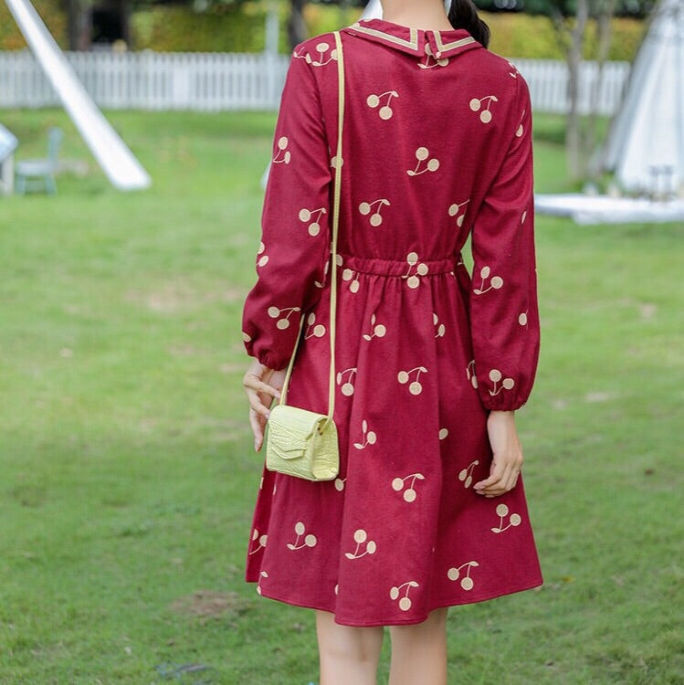 Dark Red Cherry Vintage-Style Casual Winter Dress