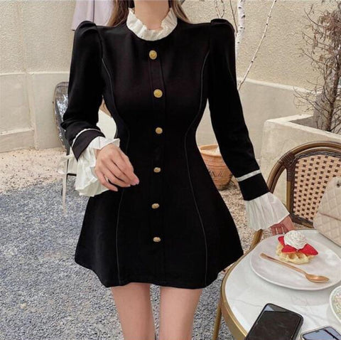 Dark Romantic Gothic Aesthetic Black Long Sleeve Mini Dress