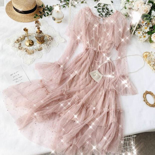Pink Star Embellished Kawaii Princess Tulle Ruffle Fairy Dress