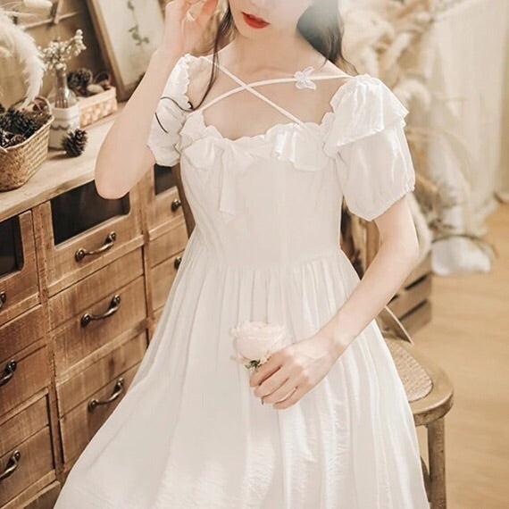 Serendipity White Spring Vintage-Style Dress