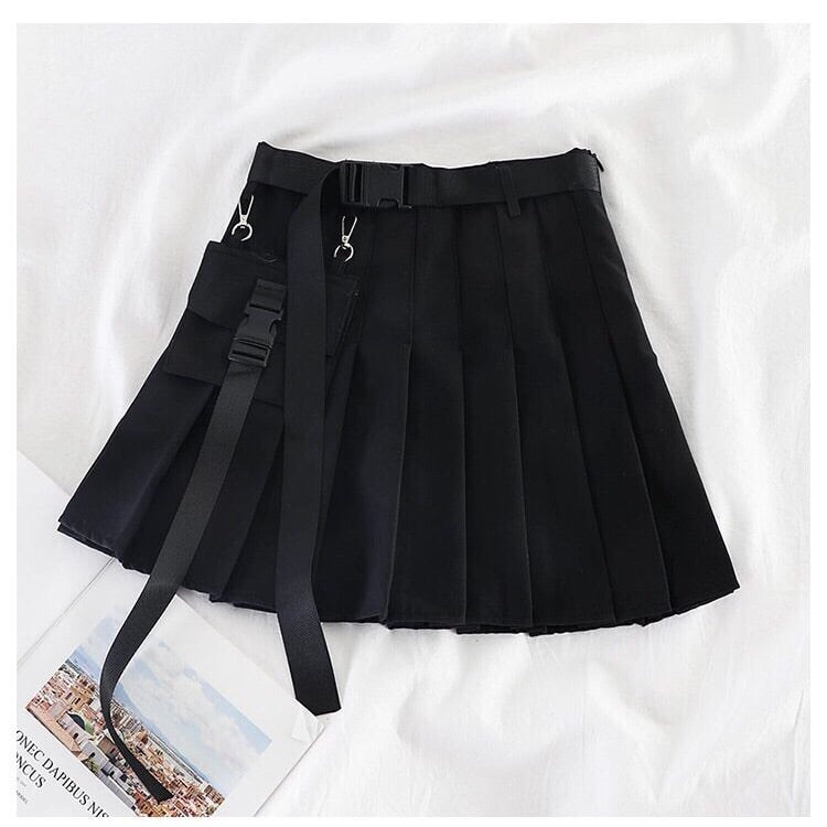 Pleated High Waist Mini Skirt With Cargo Belt
