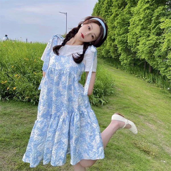 Tasi Pastel Kawaii Vintage-Style Oversized Mini Dress
