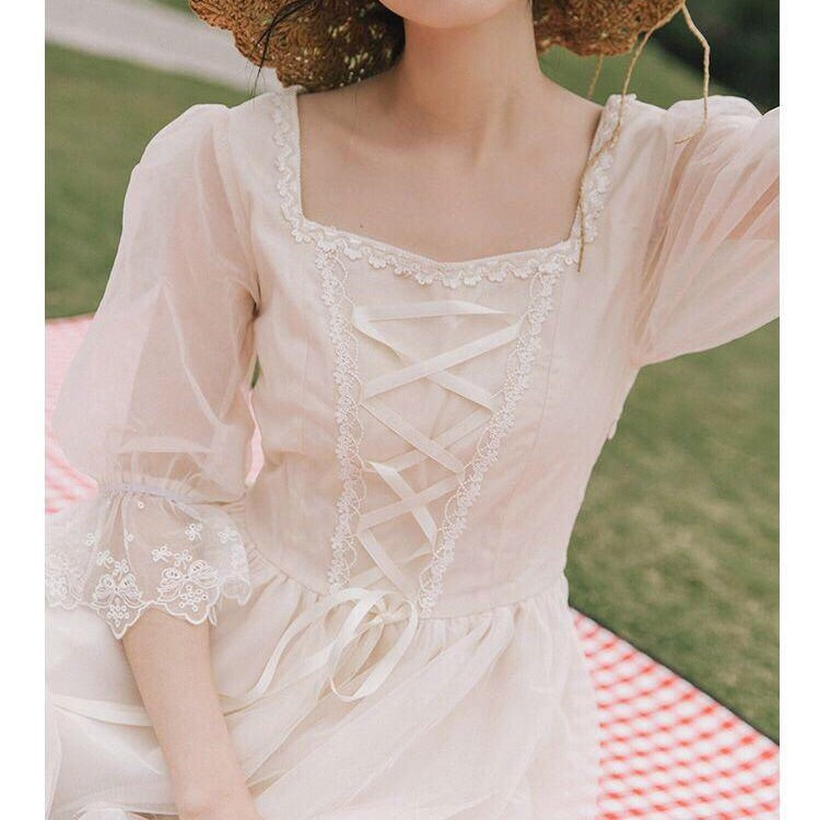 Keira Vintage-Aesthetic Summer Fairy Lace-up Dress