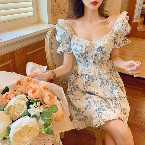 Lulu Blue Rose Angel Vintage-aesthetic Princess Mini Dress